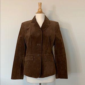 VINTAGE 70's style suede chocolate brown blazer L